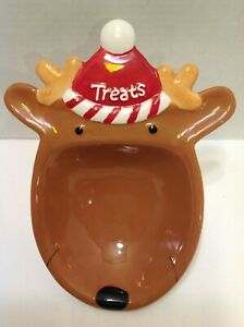Hallmark-Christmas-Reindeer-Ceramic-Snack-amp-Candy-Treat-Dish-Plate