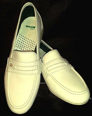Mint! MORATTI Yacht ITALY White LEATHER Rubber SOLES Slip on SHOES LOAFERS 40.5 | eBay