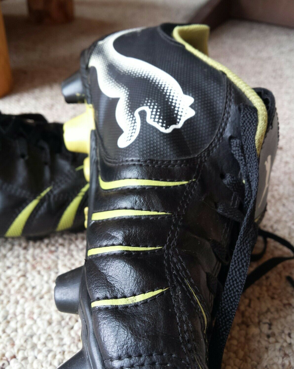 VTG VTG VTG Puma Black Leather Duoflex Mens Cleat shoes Neon Green Cat Stripes 10 - 10.5 ed8527