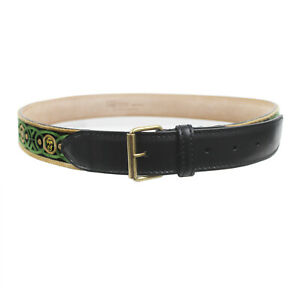 Alexander-McQueen-Green-Khaki-Skull-Embroidered-Leather-Belt-IT95-W38