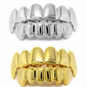 Gold-Plated-Hip-Hop-Teeth-Grillz-Top-amp-Bottom-Grill-Mouth-Teeth-Grills-Gangster