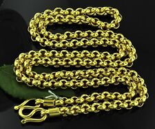999.9 24K Solid Yellow gold Rolo handmade chain necklace 58.90 grams  M clasp