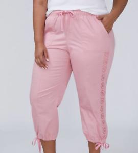 New LANE BRYANT  65 Poplin Crop w  Eyelet Details Capri Pant Pink Plus 22 24 3X