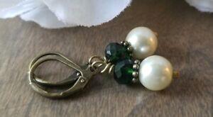 Pearl-Earrings-Bronze-Vintage-Style-green-Czech-Glass-Beaded-Leverback-victorian