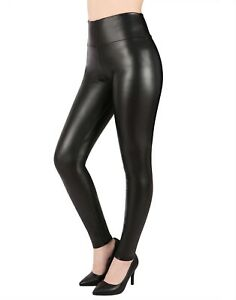 b79d658d3e Women's Black Faux Leather Leggings Sexy High Waisted Slimming ...