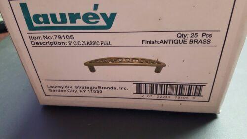 """Item # 79105 Factory Box of 25 Laurey 3/"""" Classic Filigree Pull Antique Brass"""