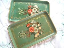 Pair Green Coral Floral Hand Painted Paper Mache Tole Jewelry Dresser Trays