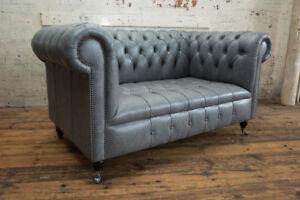 Handmade 2 Seater Grey Vintage Leather