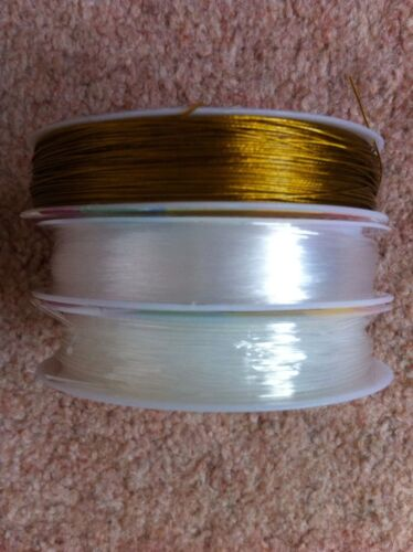 Jewellery Making Thread Monofilament /& Beading Elastic Gold Tiger Tail