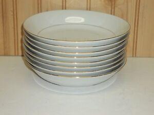 "(8) Sakura CLASSIC GOLD 1996 China 7 1/2"" Coupe Soup Bowls Gold Trim, Pinstripe"