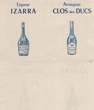 Papel secante. Liqueur Izarra. Armagnac Clos des Ducs. Años 50. 221x139 mm.