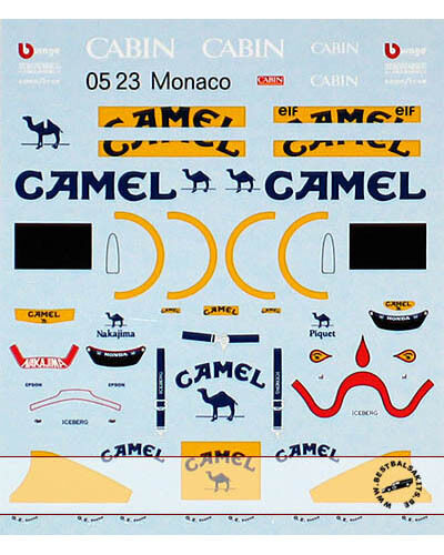 1 43 FILL IN & TRANS DECAL LOTUS 100T NAKAJIMA PIQUET for KYOSHO