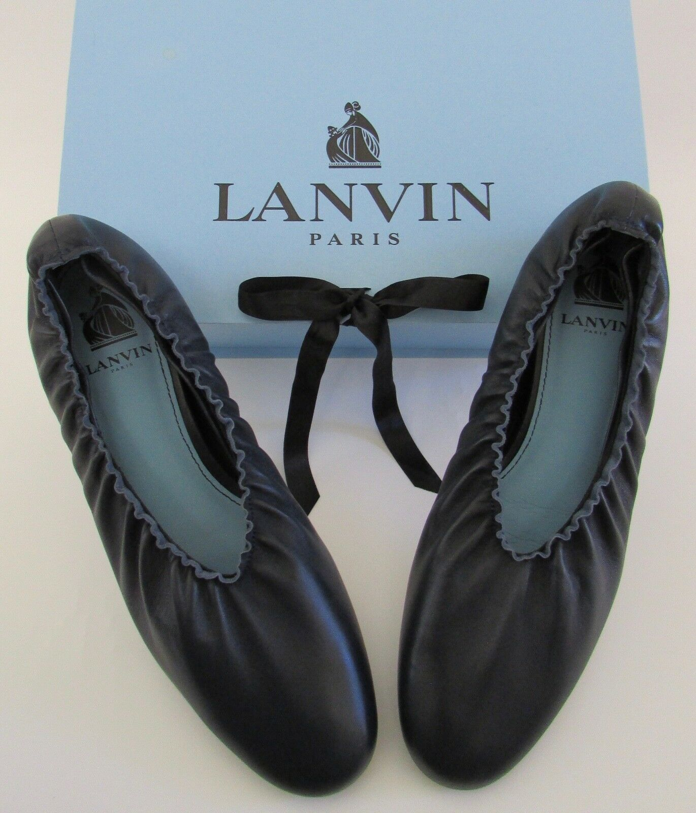 NEW LANVIN Paris Paris LANVIN Midnight blu Pleated Ballerina Flats