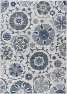 Ivory Rings Loops Hoops Bulbs Contemporary Area Rug Floral