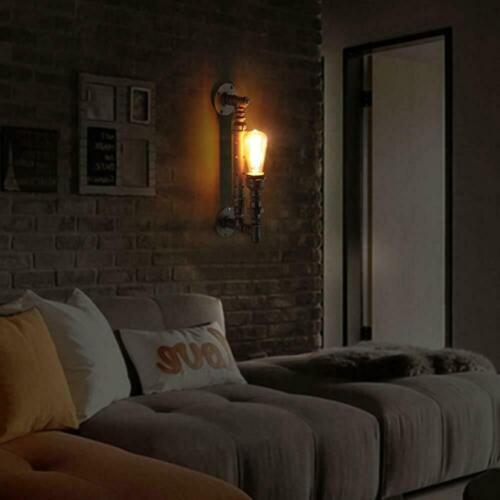 Vintage Modern Industrial Steampunk Retro WaterPipe Wall Light Lamp Loft Fixture