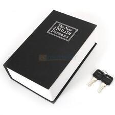 Home Security Dictionary Book Safe Cash Jewelry Money Storage Key Lock Box Black