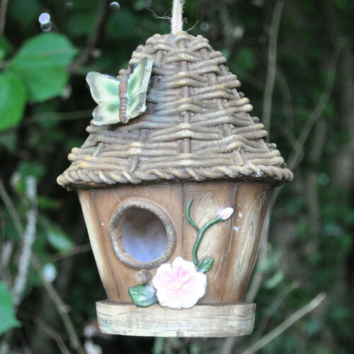 Jardin oiseau maison ornement avec papillon nichoir suspendu corde 39251 neuf