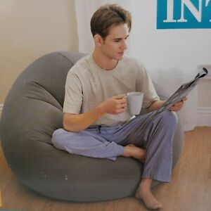 Dorm Beanless Bag Chair Intex Comfort Seat Gaming Movie TV Reading Lounge Gray