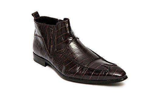 Roberto Guerrini A4472039 Mens Italian Brown Crocodile Print Leather Boots