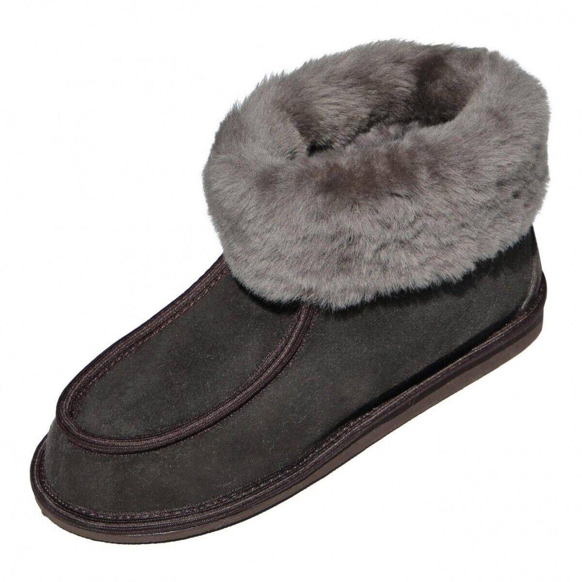 Lamb Wool House shoes - Adam Merino fur shoes Sheepskin Espresso