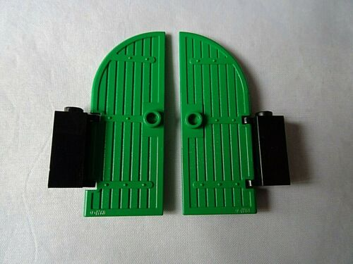 LEGO PART 2554 GREEN 1 x 3 x 6 DOOR CURVED TOP WITH BLACK HINGE 1 PAIR