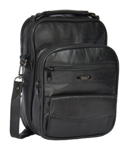Mens Real Leather Grab Shoulder Bag Black Travel Money Mobile Cab Casual Bag TIM