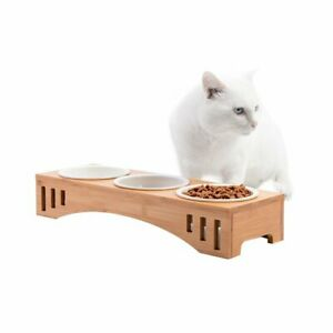 Elevated-Pet-Bowls-Bamboo-Stand-Holder-Ceramic-Food-Feeding-Bowl-Dog-Cat-Feeder