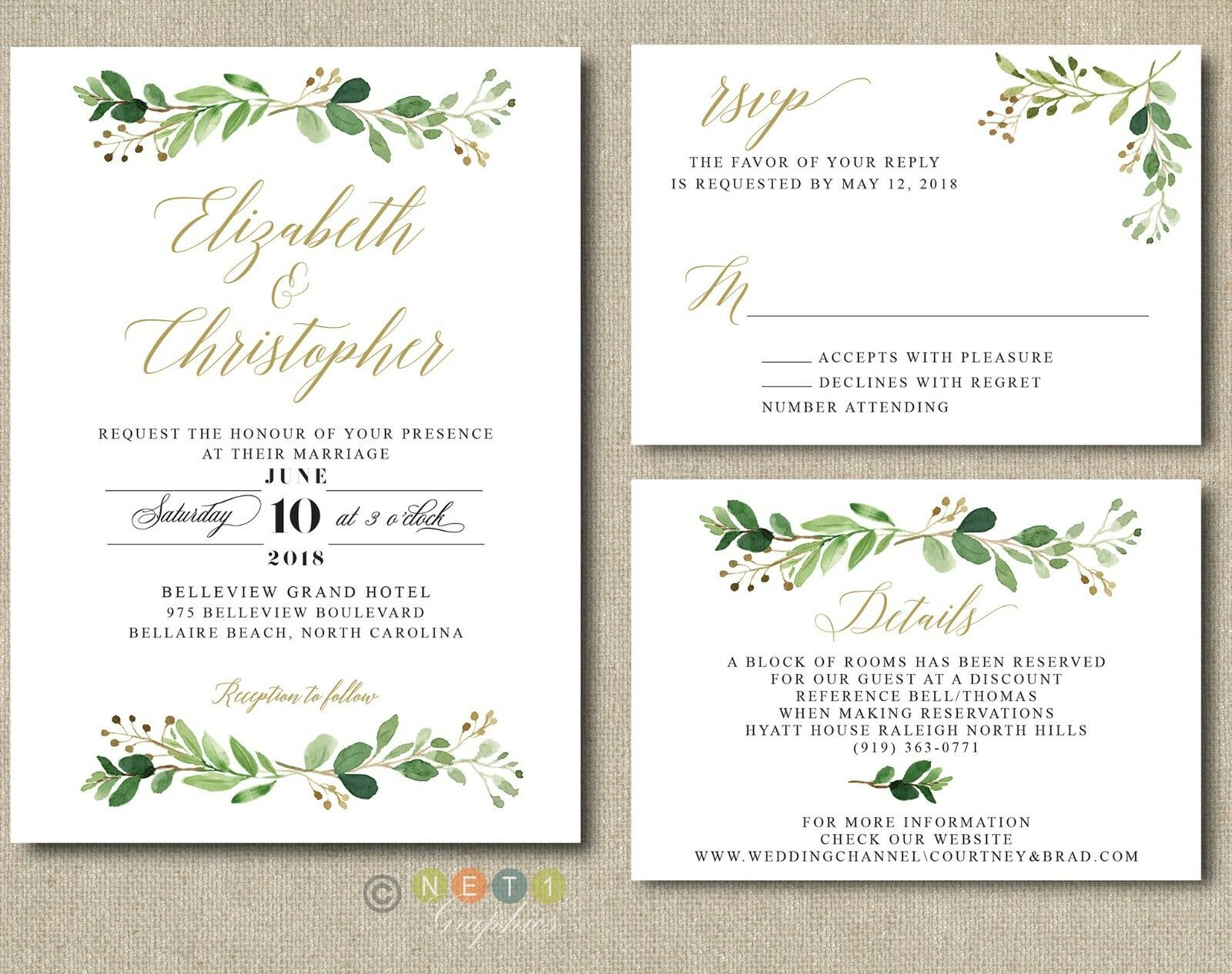 100 Personalized vertery Wedding Invitations Suite Modern Rustic with Envelopes