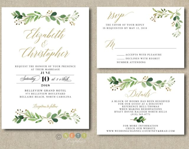 100 Wedding Invitations: 100 Personalized Greenery Wedding Invitations Suite Modern