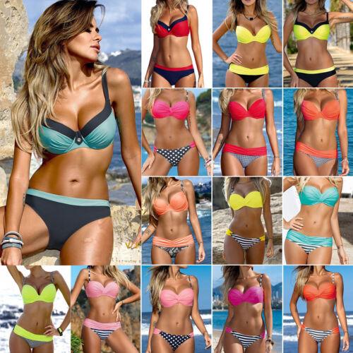 2Pcs Womens Summer Push-up Padded Bra Bikini Set Swimsuit Swimwear Bathing Suit