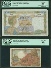 FRANCE  1941-44  20 & 500 FRANCS BANKNOTES, LOT OF (2), PICK#100a & PICK#95b
