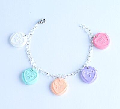 love heart bracelet sweet kawaii kitsch lolita retro cute rockabilly candy ooak