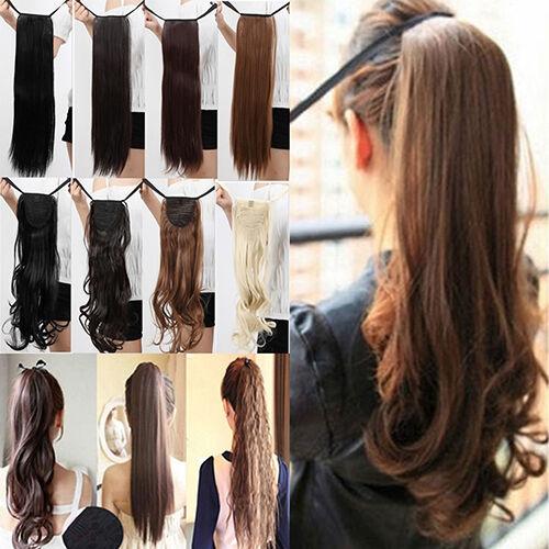 LC_ donna LEGAME coda di cavallo parrucchino Extension a clip capelli pezzi