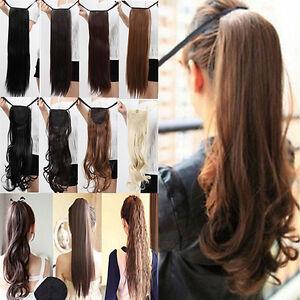 EG-Femmes-ATTACHE-Postiche-queue-de-Cheval-Pince-en-Extensions-Cheveux-pieces