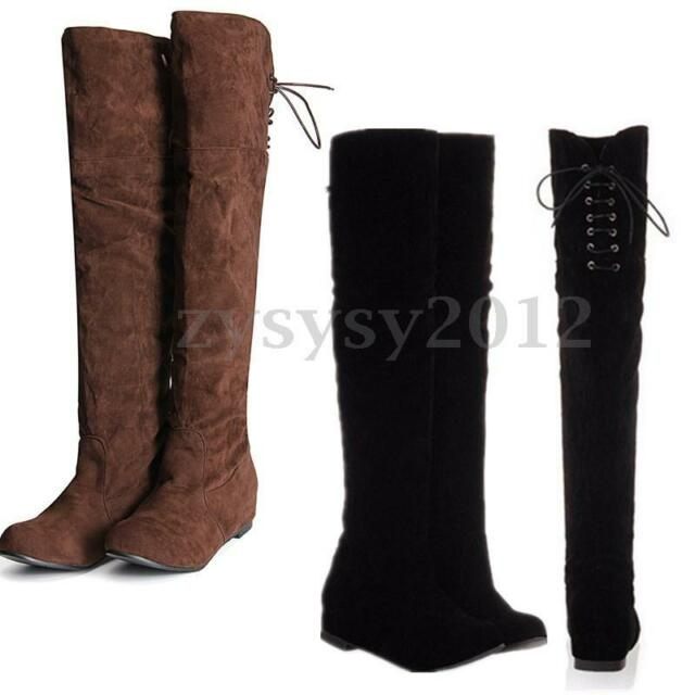 New Womens Faux Suede Boots Over The Knee Thigh High Flat Riding Shoes Size