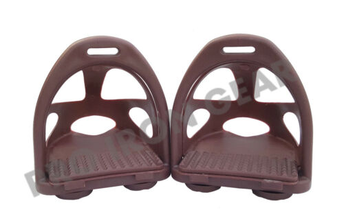 PLASTIC POLYMER COMPOSITE HORSE ENDURANCE STIRRUPS WITH REMOVABLE CAGE 11 COLORS