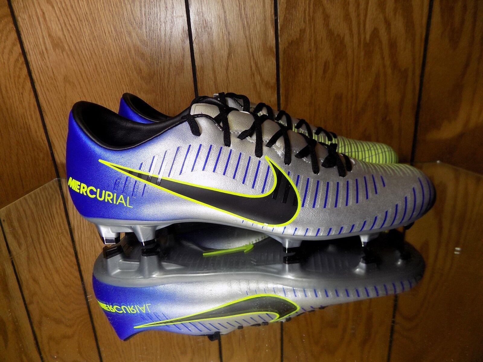 5f36a5ee1d5 Nike Mercurial Victory VI NJR FG Soccer Cleats Blue Chrome 921509 ...