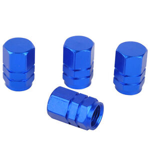 Fine-4Pcs-Aluminum-Car-Wheel-Tire-Valves-Tyre-Stem-Air-Caps-Airtight-Blue-Cover