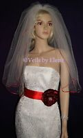 Wedding Veil-elbow/2t/72w/26-28l/pearls/red Satin