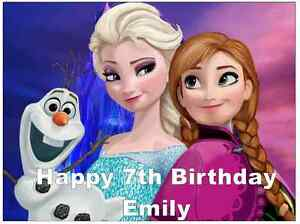 """Elsa Frozen A4 Personalised Cake Topper Edible Wafer Paper 7.5/"""" By 10/"""""""