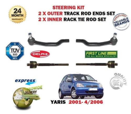 2 INNER STEERING TRACK RACK TIE ROD END SET FOR TOYOTA YARIS 2001-/> 2 X OUTER