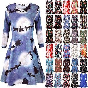 Womens-Ladies-Long-Sleeve-Santa-Christmas-Hat-Tree-Gifts-Swing-Flared-Mini-Dress