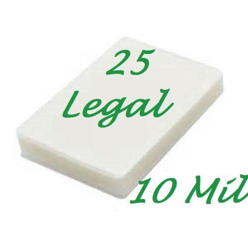 25 Legal 10 Mil Laminating Pouches Laminator Sheets 9 x 14-1//2 Scotch Quality
