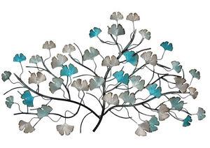 Iron-Tree-Metal-Wall-Art-Turquoise-Silver-85cm-Garden-Decor-Sculpture-Hanging