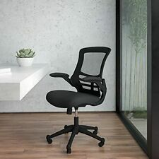 Mid Back Black Mesh Swivel Ergonomic Task Office Chair With Flip Up Arms