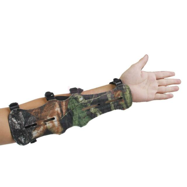 Camouflage 4 Strap Leather Shooting Hunting Archery  Arm Guard Protection