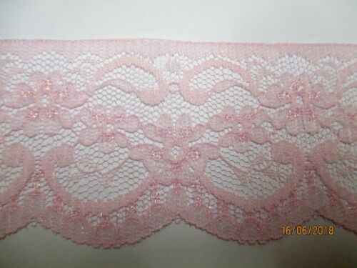 produced in Nottingham 3mtrs of 2.5inch Flat Pink Sparkle Lace design 1
