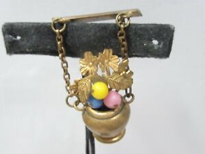 VINTAGE-BRASS-FLOWER-POT-PIN-GLASS-BEADS-FLORAL-DANGLING-GORGEOUS-OLD
