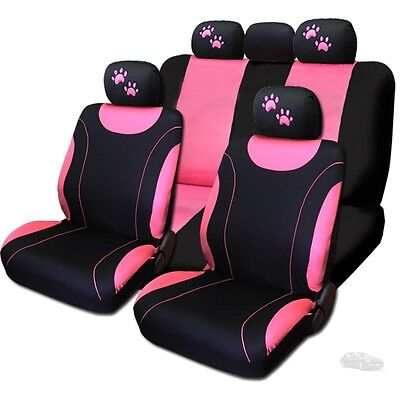 For Hyundai New 2 Tone Front and Rear Seat Covers with Pink Paws Logo Set
