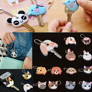 Cute-Silicone-key-Cap-Head-Cover-Keyring-Keychain-Case-Toppers-Holder-New
